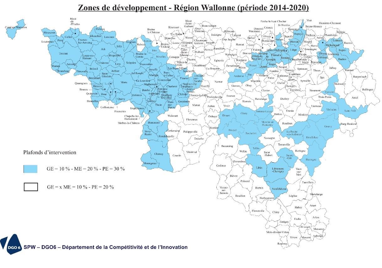 carte des zones de développement en Région wallonne
